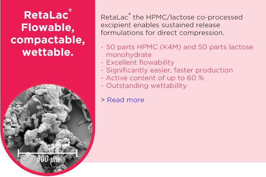 RetaLac_Co-processed excipient_HPMC_Lactose