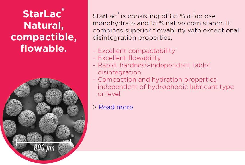 StarLac_Co-processed excipient_Starch_Lactose